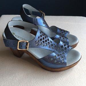"Eric Michael blue leather sandals 3"" heels sz 36"